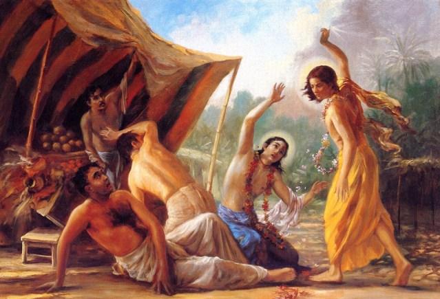 """Quando Jagai e Madhai bateram nele, enquanto sangrava ele orou a Mahaprabhu, """"Nesta encarnação você deve perdoá-los, e dar-lhes krisna-prema."""""""