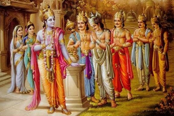 Krsna junto aos Pandavas, Draupadi e Kunti Devi.