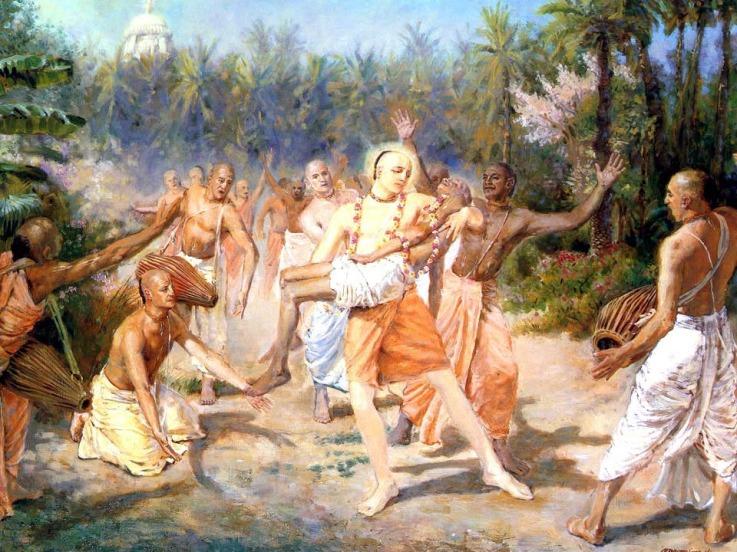 Caitanya Mahaprabhu pegou o corpo de Haridasa em Seus braços e colocou-o em uma carruagem.