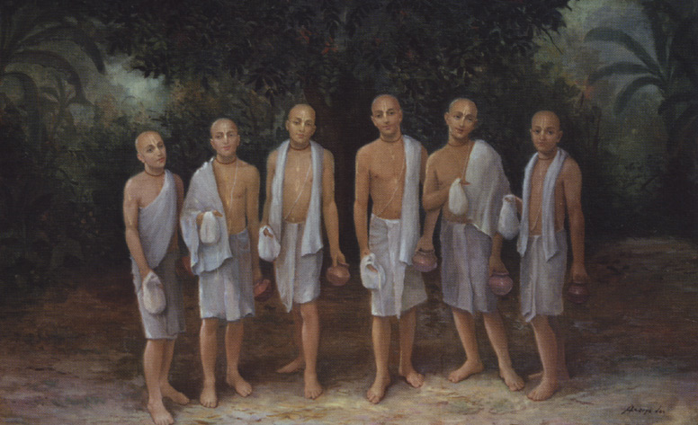 Os seis Gosvamis de Vrindavana, entre eles, Srila Jiva Gosvami.