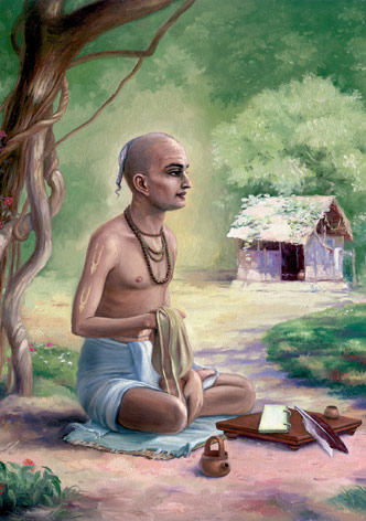 """há um garoto que é ainda mais bhajananandi que você veio para a nossa aldeia. Dia e noite, ele chama os nomes de Radha-Krisna e chora. Nós o levamos comida, mas ele recusa, e nunca dorme também. Dia e noite, ele permanece imerso em bhajana; nunca vimos nada igual. """""""