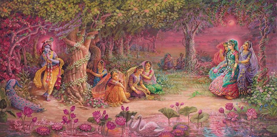 """""""Eu não sou capaz de quitar meu débito com o serviço imaculado de vocês, mesmo em uma vida inteira de Brahma. Nossa ligação está além de qualquer censura. Vocês vêm me adorando, cortando todos os laços familiares que são tão difíceis de quebrar. Portanto, por favor, deixem que seus próprios atos gloriosos sejam sua própria recompensa."""""""