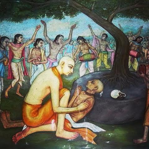 """Pedindo aos Seus devotos para continuar o kirtana, Caitanya Mahaprabhu se sentou perto de Haridasa Thakura. Ele pegou a cabeça do Haridasa e colocou-a no Seu colo. Haridasa olhava apenas na direção do Seu belo rosto de lótus e clamava: """"Saci-nandana Gaurahari! Gaurahari! Gaurahari."""" Então, ele deixou seu corpo nesse momento."""