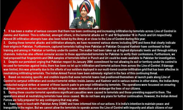 Statement by DGMO #IndianArmy on 29 Sep 16