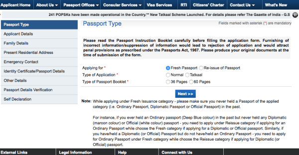 3 categories to choose from while applying passport