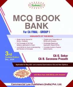 Commercial's MCQ Book Bank for CA Final Group I by G Sekar for May 2021 Exam
