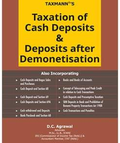 Taxmann's Taxation of Cash Deposits & Deposits after Demonetisation by D.C Agrawal - 1st Edition August 2020
