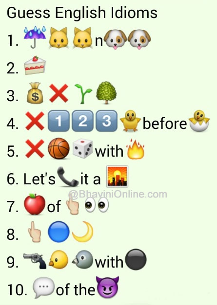 whatsapp puzzles guess the english idioms and phrases from emoticons and smileys