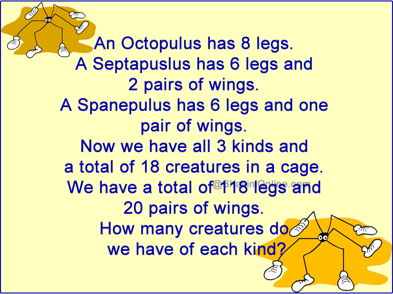 Fun Math Riddle: How Many Creatures of Each Kind