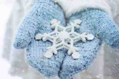 Winter mittens with snowflake in hand