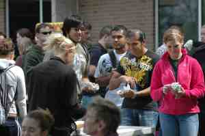 Students outside in line for an event