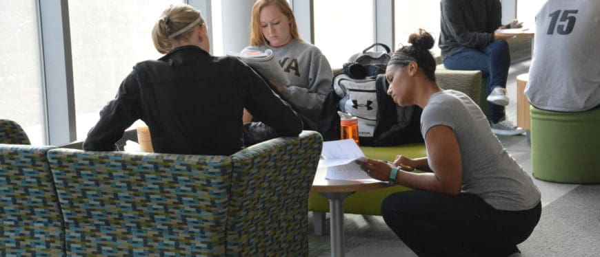 Group of students studying in the Health Sciences Center