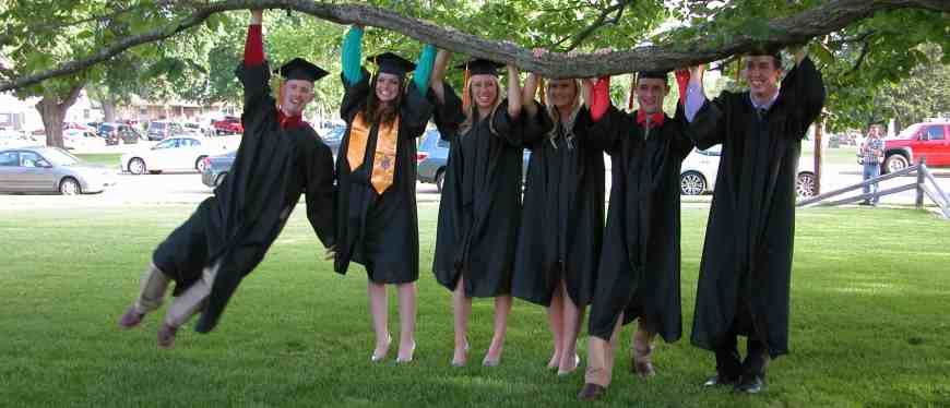 Group of student graduates outside at graduation