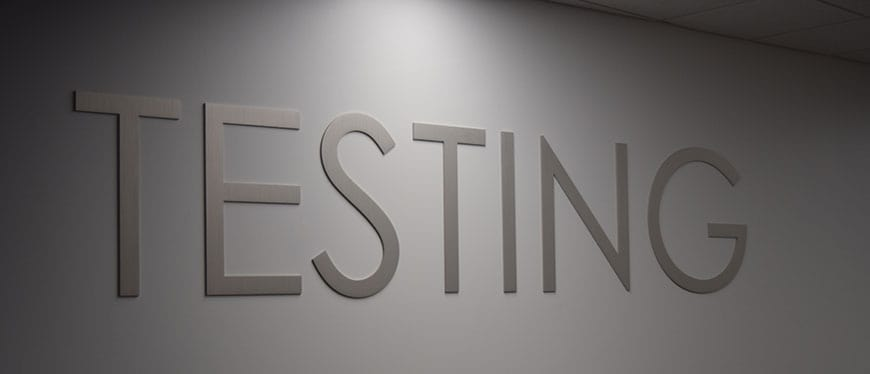 Welcome sign at Testing Center