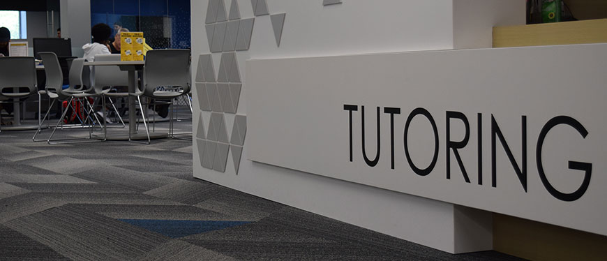 Side view of Tutoring Center desk