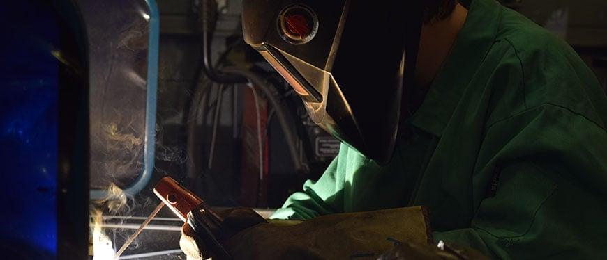 Welding student welding