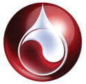 Mississippi Valley Regional Blood Center logo - red ball with droplet inside
