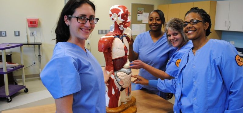 BHC Practical Nursing students in scrubs with a human anatomy model