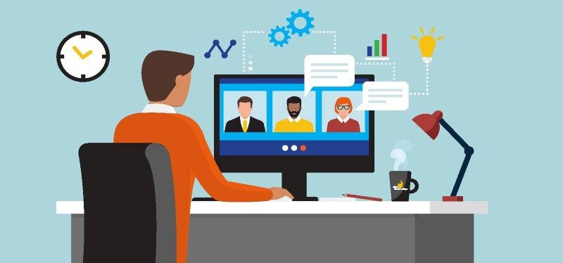 illustration of person at desktop computer in online meeting