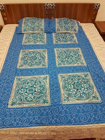 Aari Embroidery Double Bed Sheet