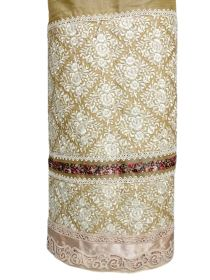 Golden Silk with a Cream Heavy Embroidered Panel