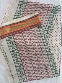 Women's South Cotton Dupatta Off-White With Red Butti Print With Border.