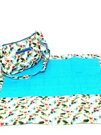 Firoza Blue Women Quilted Masalla with Floral Printed Sujni