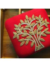 Red color embroidery clutch