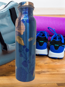 Royal Blue with Floral print Copper Water Bottle (900ml)