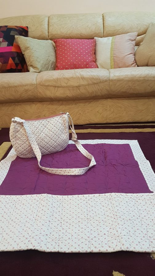 dark wine color ladies quilted masalla with sling bag
