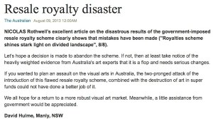 David Hulme in the Australian on the Resale Royalty Scheme