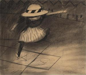 Lot 25, Charles Blackman, Hopscotch 1954, est. $12,000-18,000. Hip, hop, have