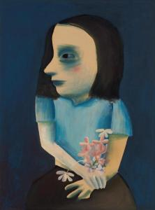 Lot 3, Charles Blackman, Girl with Flowers 1952, est. $30,000-40,000. Brooding Blackman at his Brilliant Best