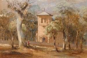 Lot 64 - Conrad Martens, St Thomas' Church, North Sydney, c1846, est. $16,000-$24,000.  Martens Place