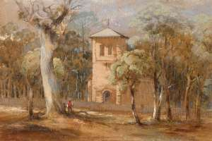 Lot 64 - Conrad Martens, St Thomas' Church, North Sydney, c1846, est. $16,000-$24,000.  Martens Place