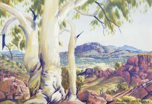 Lot 7 - Albert Namatjira, Central Australian Landscape, est. $20,000-$28,000.  Gum Tree Treat