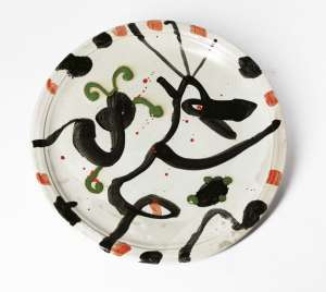 Lot 168 - John Olsen, Untitled (Platter), 2003, est. $1,000-$2,000.  Splatter Platter