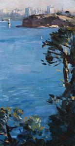 Lot 58, Arthur Streeton, Cremorne Point, Sydney Harbour, c1926, est. $60,000-80,000. Blue and blue chip