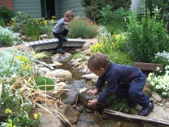 Children playing in cottage style stream