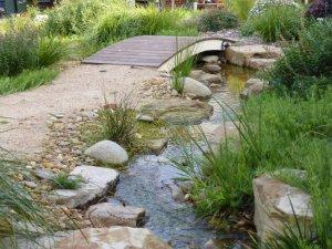 Lysterfield garden with stream.