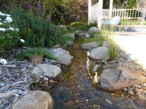 Garden stream beside a gazebo