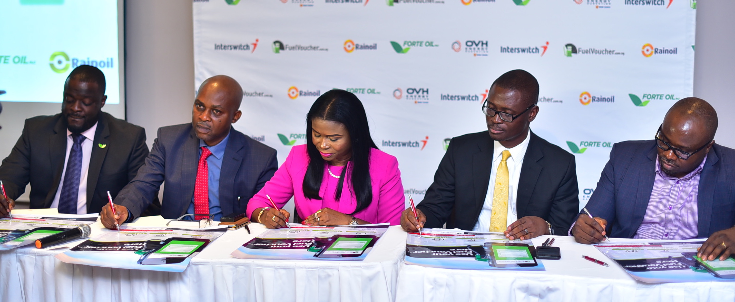 Tunde Pratt, Head of Supply, Trading and Depot Operations at Forte Oil; Kenneth Ndabai, Executive Director Operations at RainOil; Chinyere Don-Okhuofu, Divisional CEO of Interswitch Industry Vertical Markets; Babafemi Olabiyi, Head of Sales at OVH Energy Marketing and Mr. Chimezie Emewulu, CEO, Seamfix/EVSL