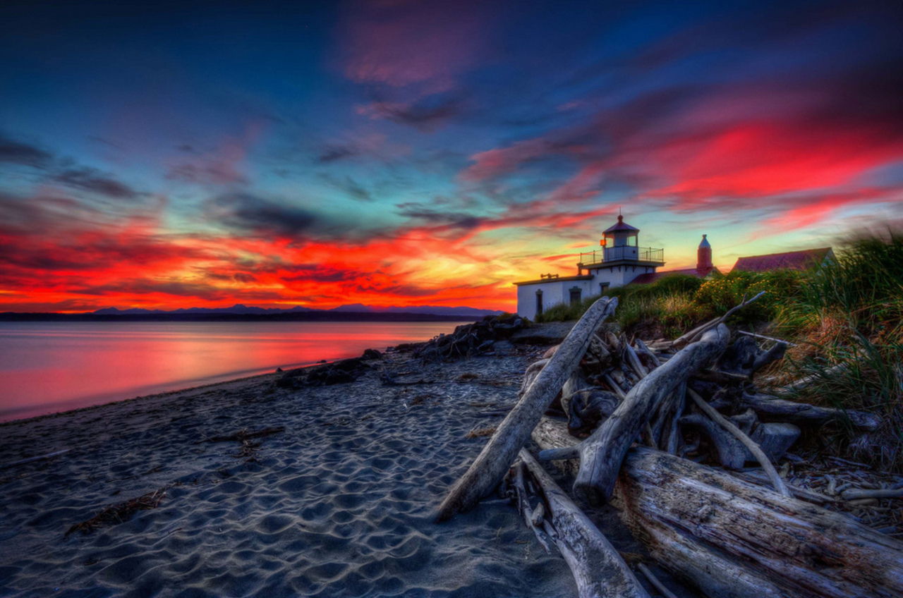dark lighthouse sunset wallpapers