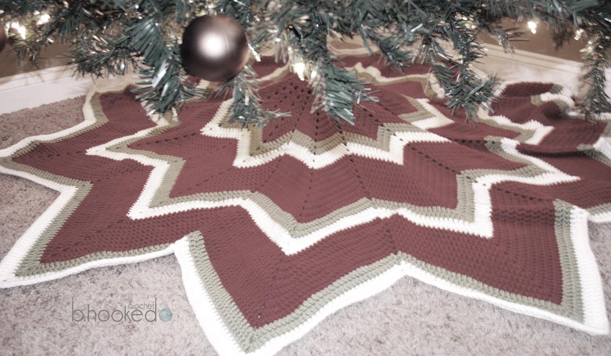 12-pointed Star Crochet Christmas Tree Skirt - B.hooked Crochet ...