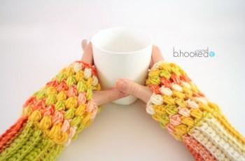 puff stitch fingerless gloves