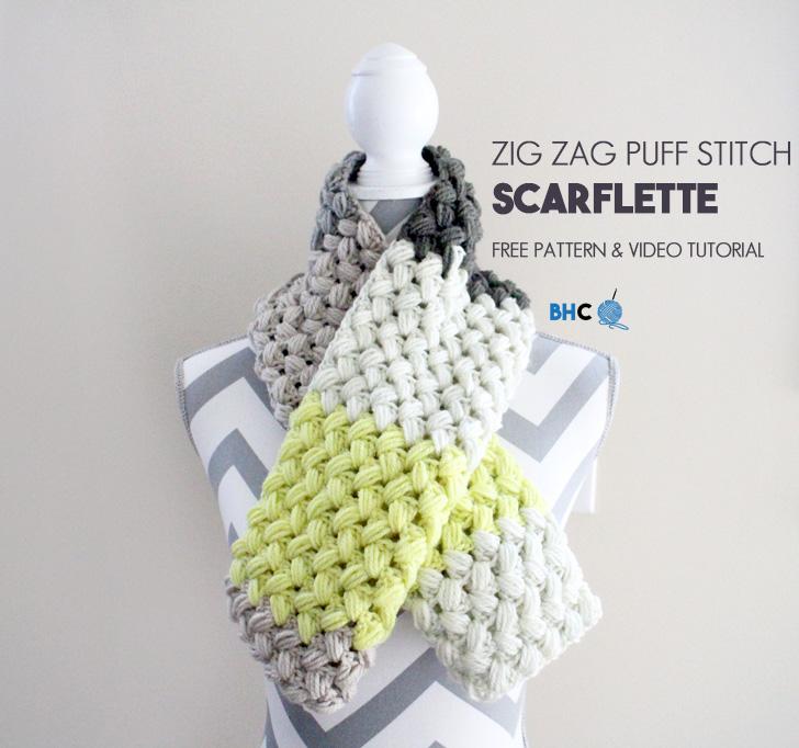 Zig Zag Puff Stitch Scarflette Free Pattern Tutorial Bhooked