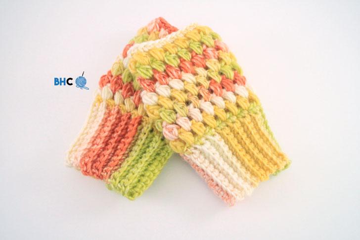 Puff Stitch Fingerless Gloves Free Pattern Tutorial Bhooked