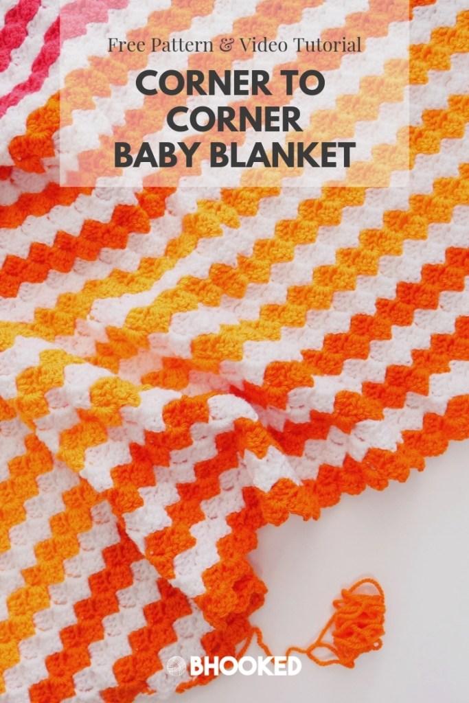 Baby Brights Corner to Corner (C2C) Baby Blanket   Free Crochet Pattern from B.Hooked!