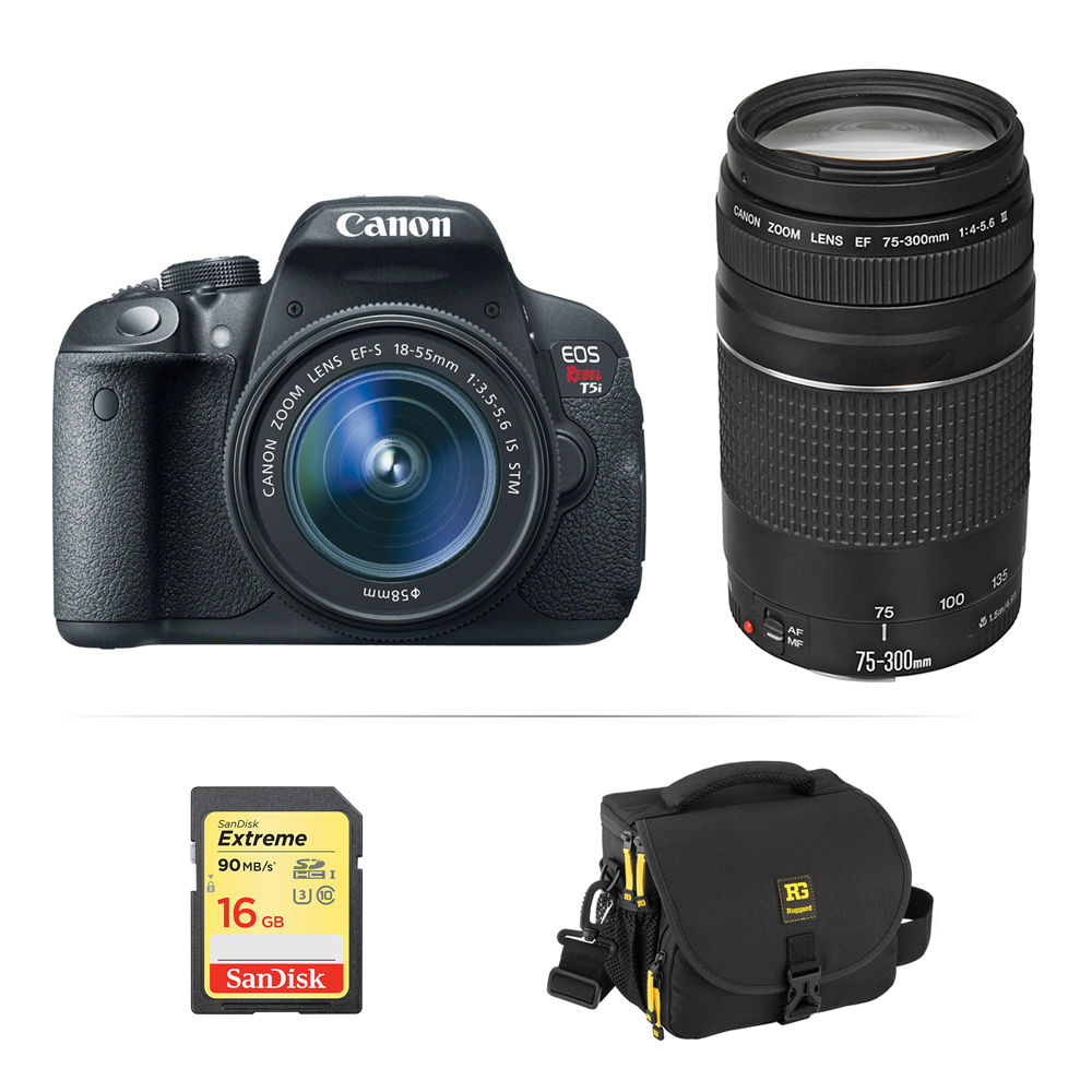 Canon EOS Rebel T5i DSLR Camera with 18 55mm and 75 300mm B H Canon EOS Rebel T5i DSLR Camera with 18 55mm and 75 300mm Lenses Kit