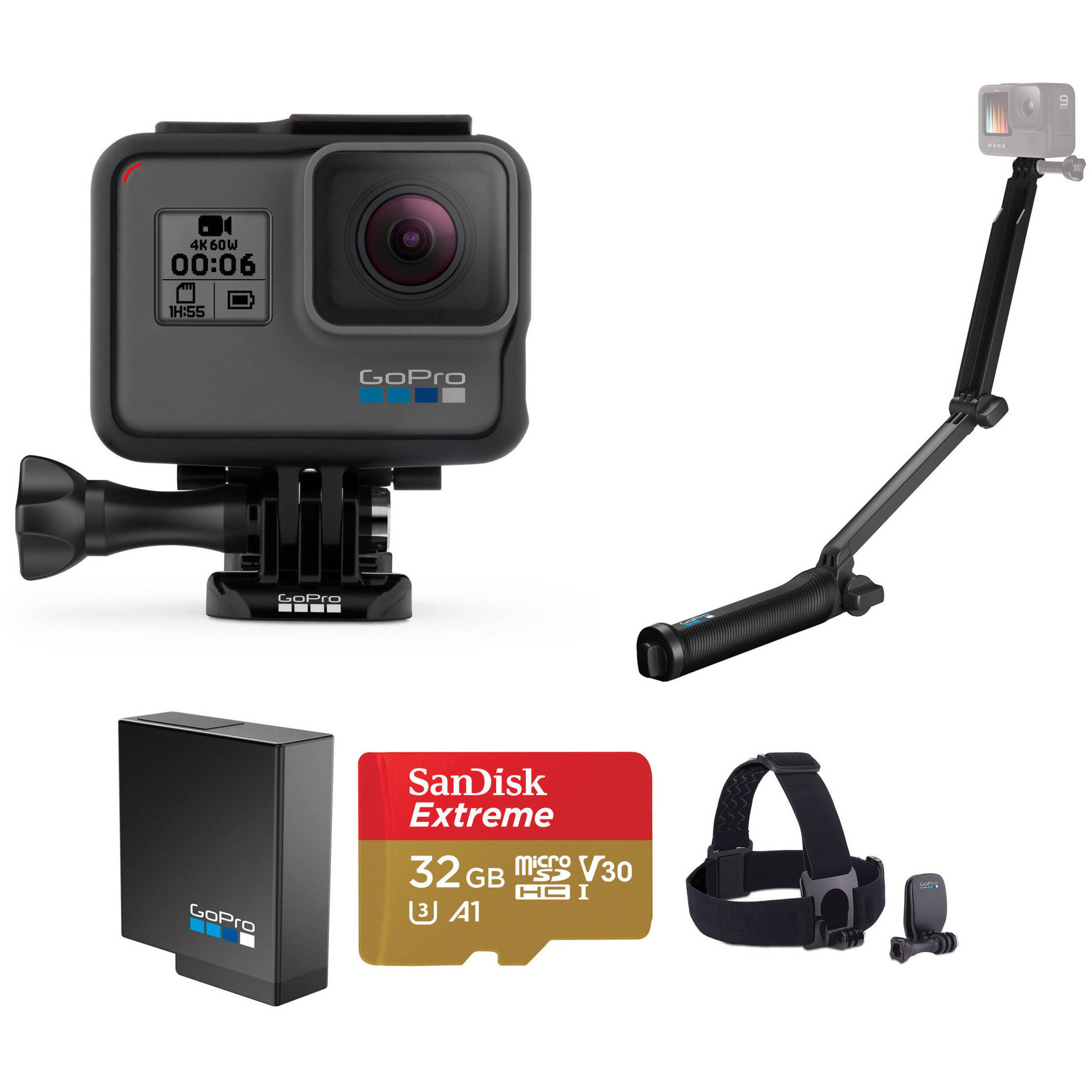 Gopro Hero6 Black Kit With Head Strap Extra Battery 3 Way B Amp H